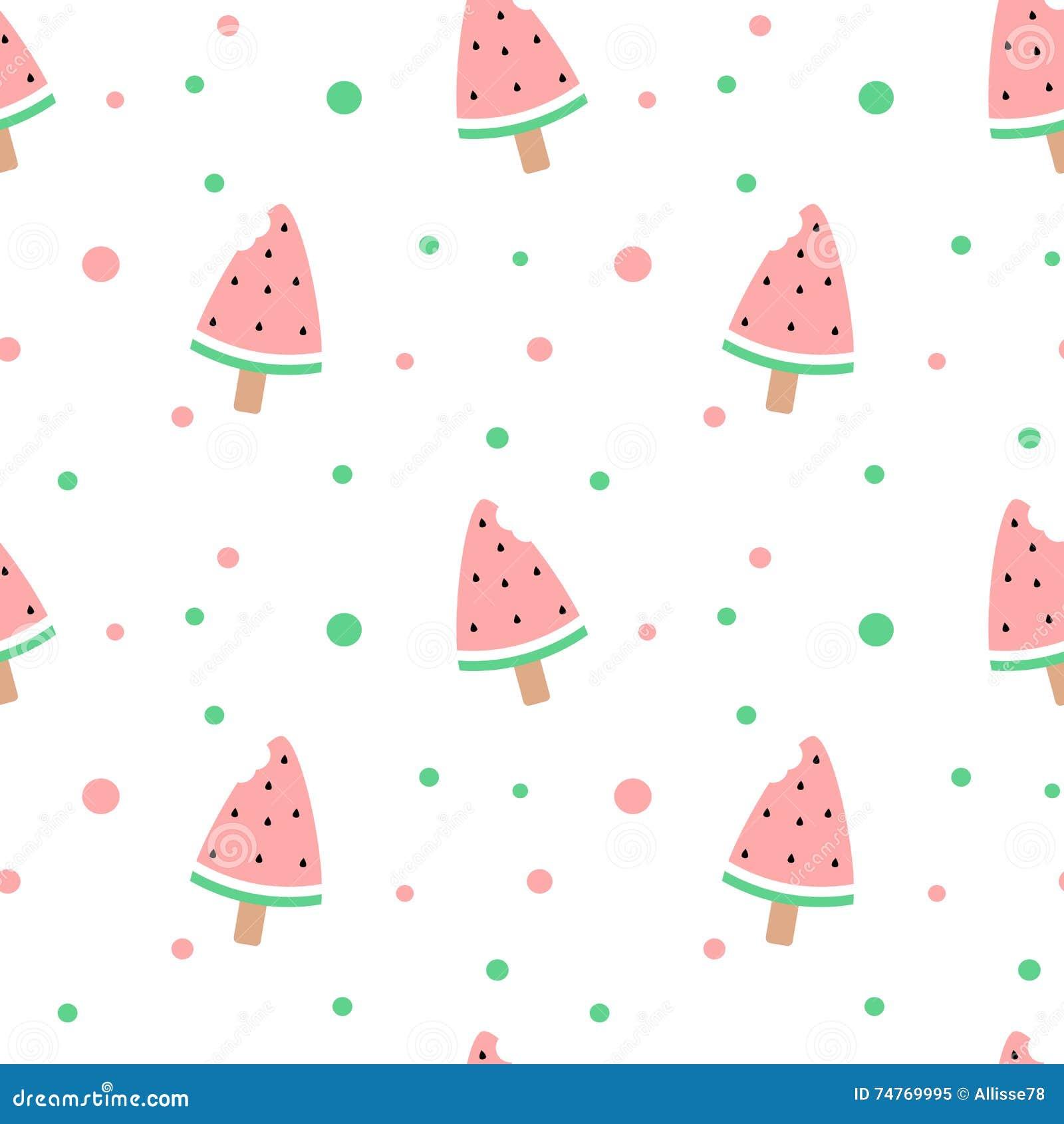 Cute Ice Cream Background: Cute Watermelon Bitten Ice Cream Seamless Pattern