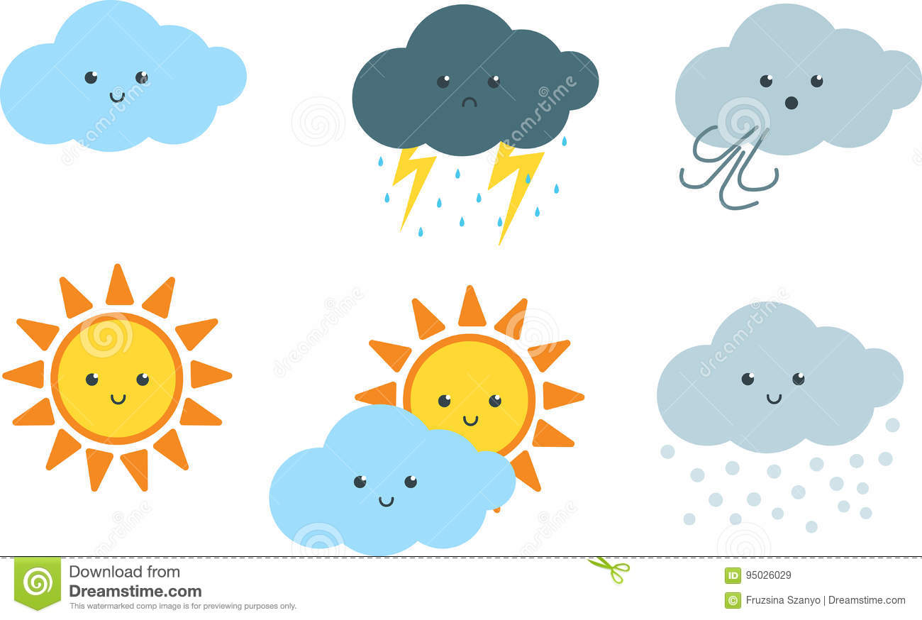 Cute Weather Cartoon Clipart Stock Vector