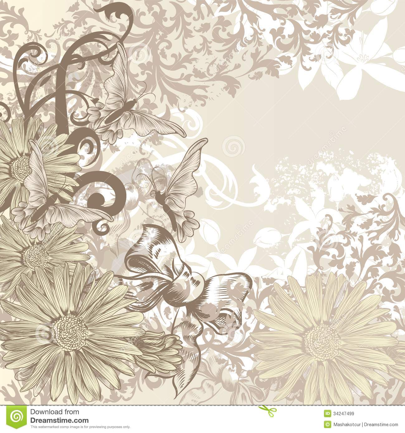 cute wedding background in floral vintage style for design