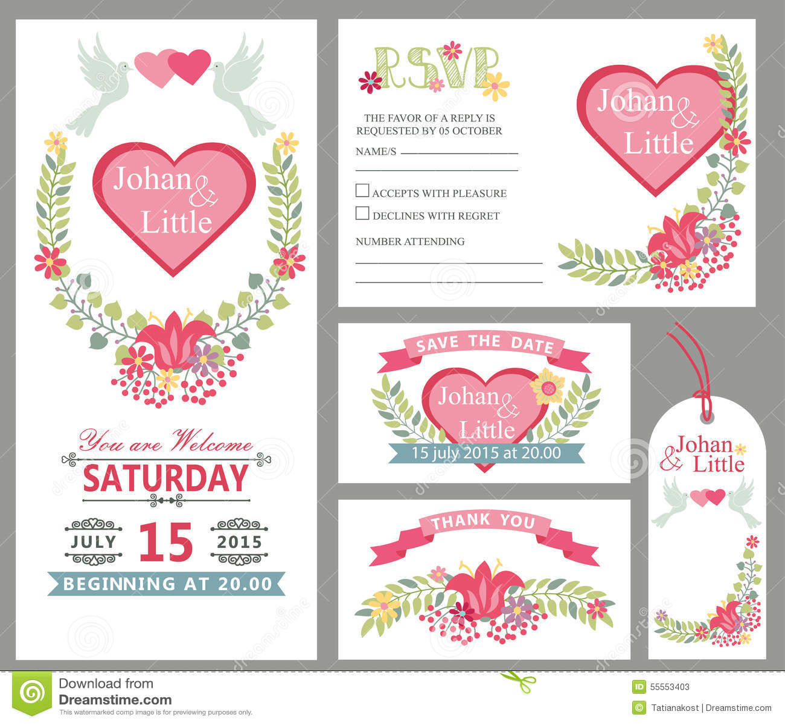 Cute Wedding Card Design Template Set.Floral Decor Stock Vector ...