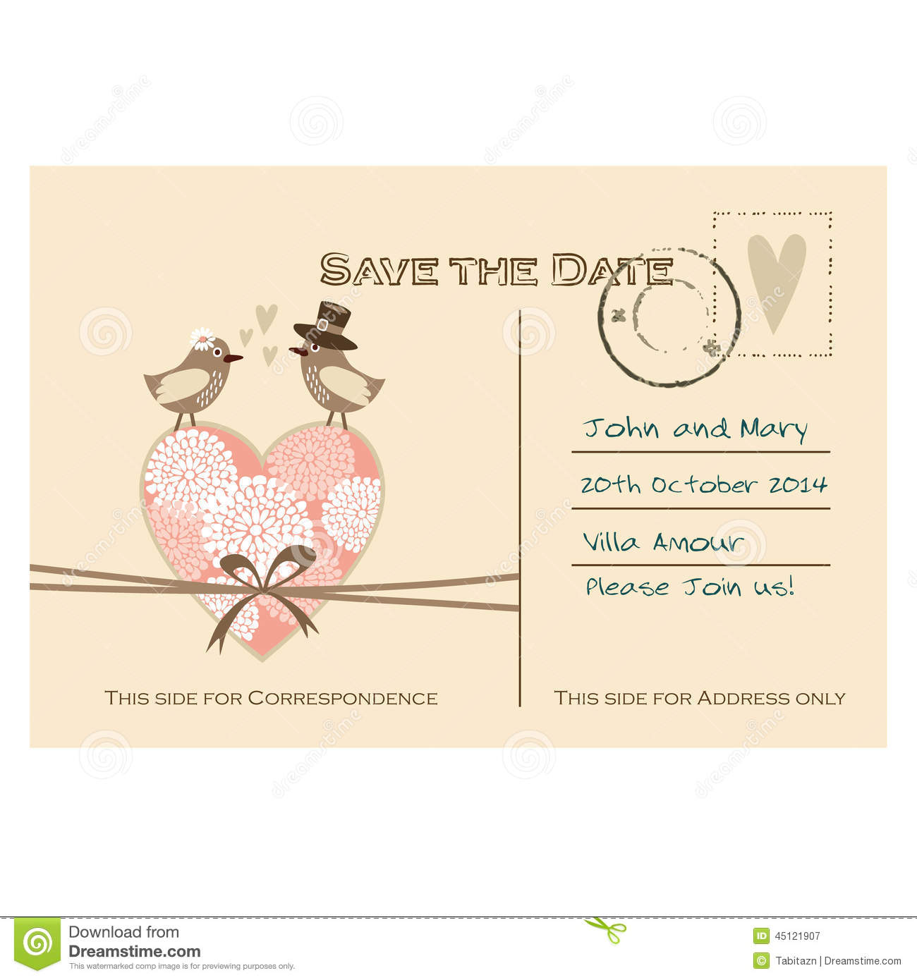 Cute Wedding Card, Invitation With Floral Heart And Birds Stock ...