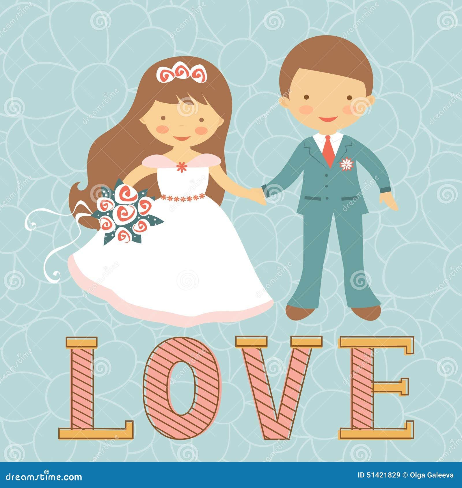 Cute Wedding Couple Stock Vector - Image: 51421829