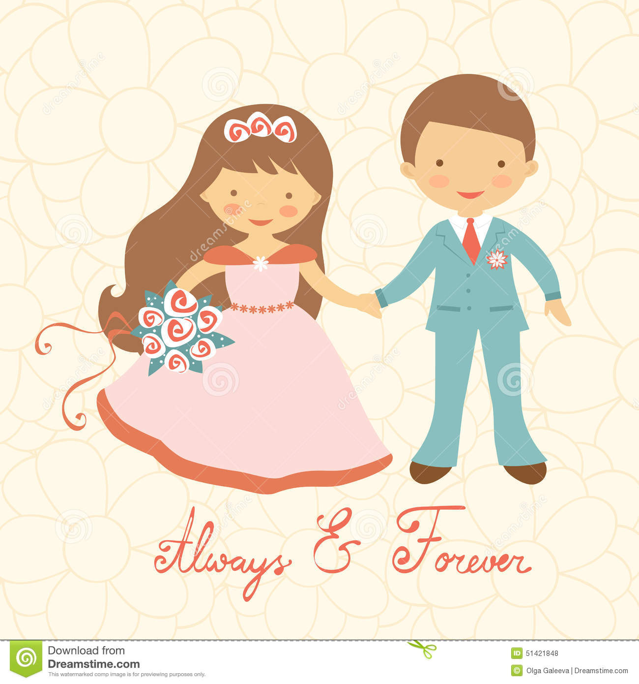 Cute Wedding Couple Stock Vector - Image: 51421848