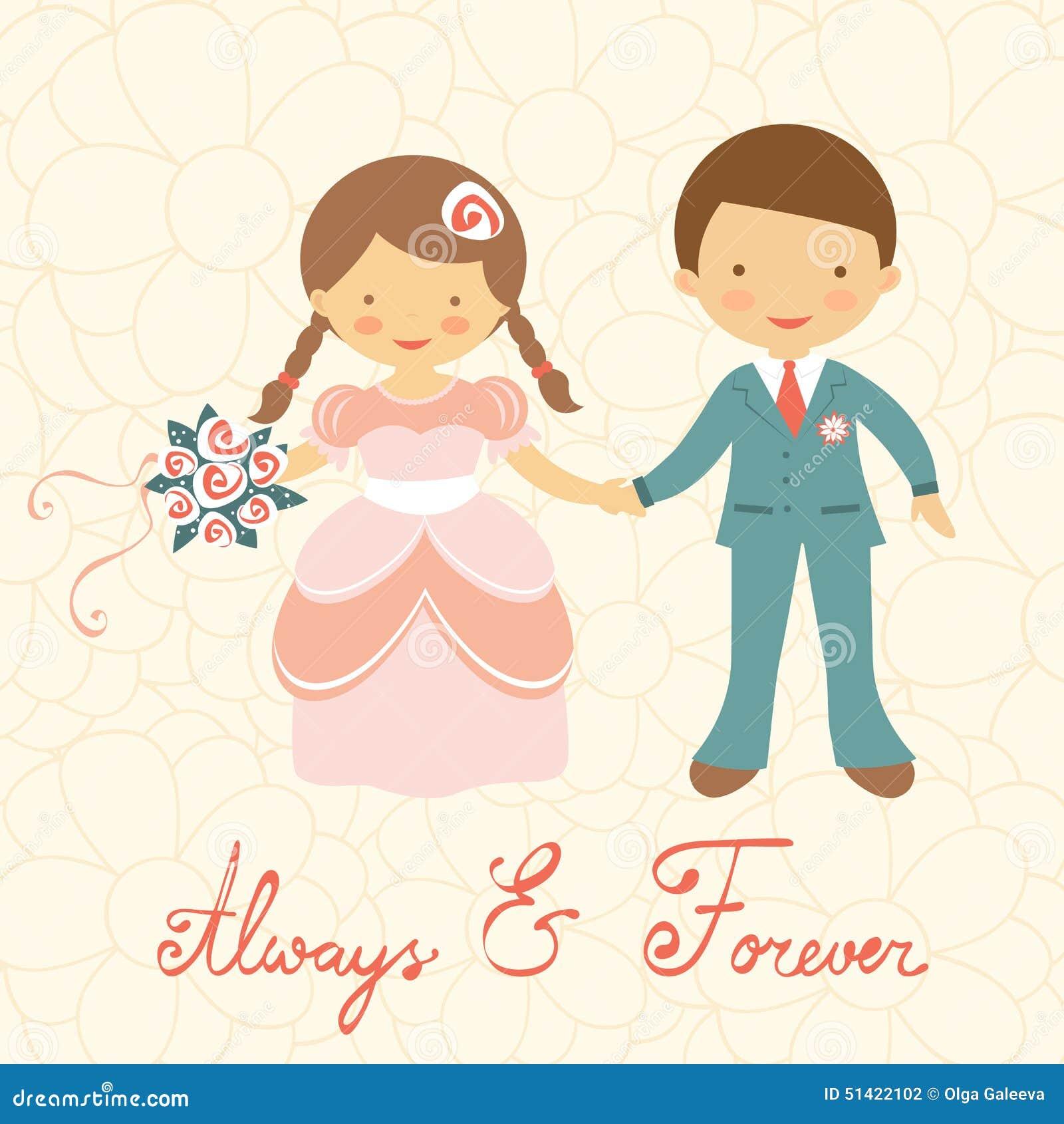Cute Wedding Couple Stock Vector - Image: 51422102