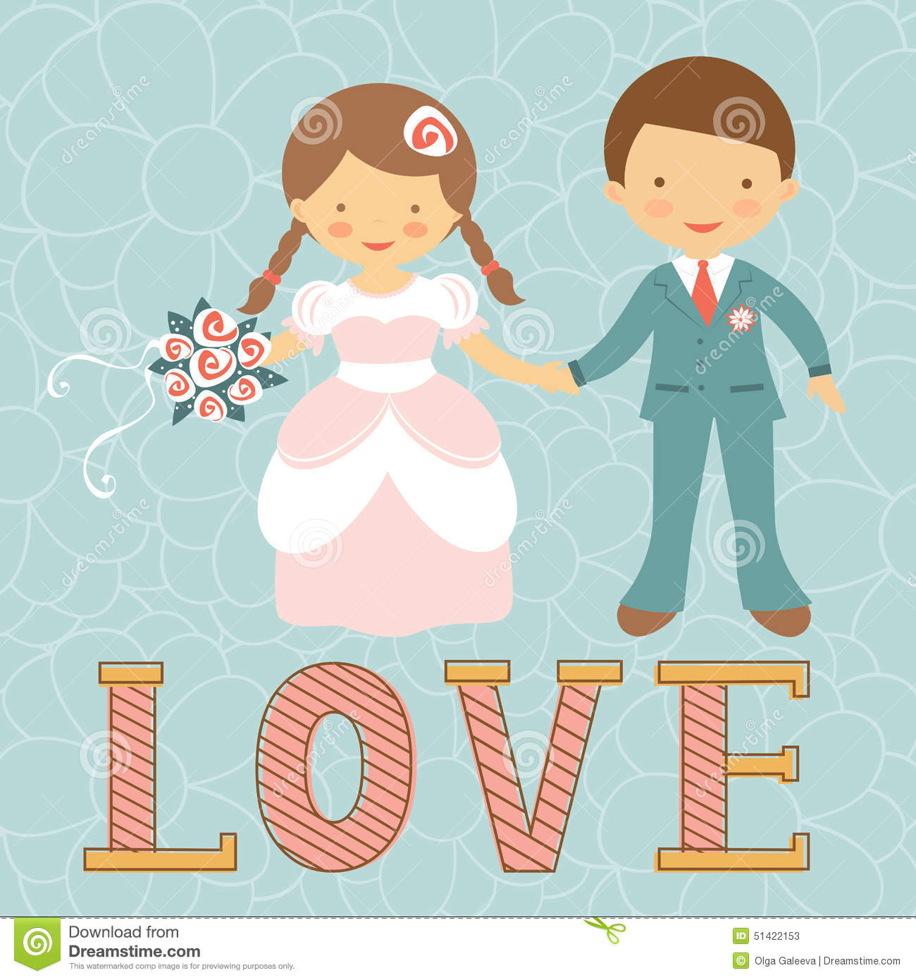 Cute Wedding Couple Stock Vector - Image: 51422153