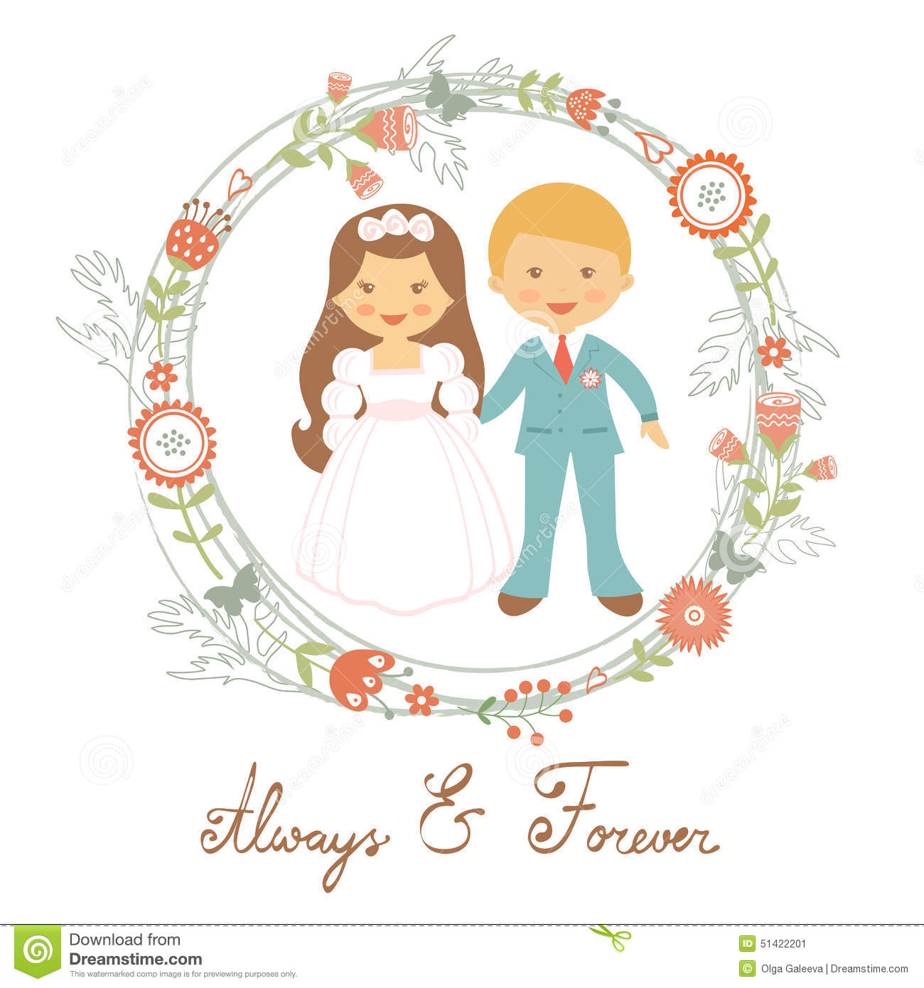 Cute wedding couple stock vector. Illustration of smiling ...