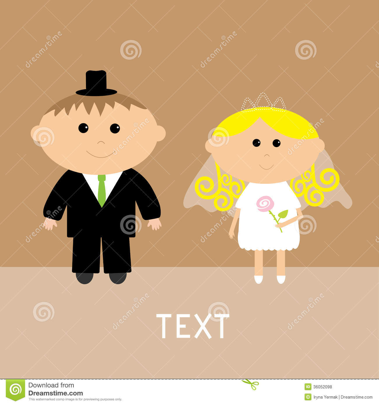 Cute Wedding Couple Vector Card Invitation Royalty Free