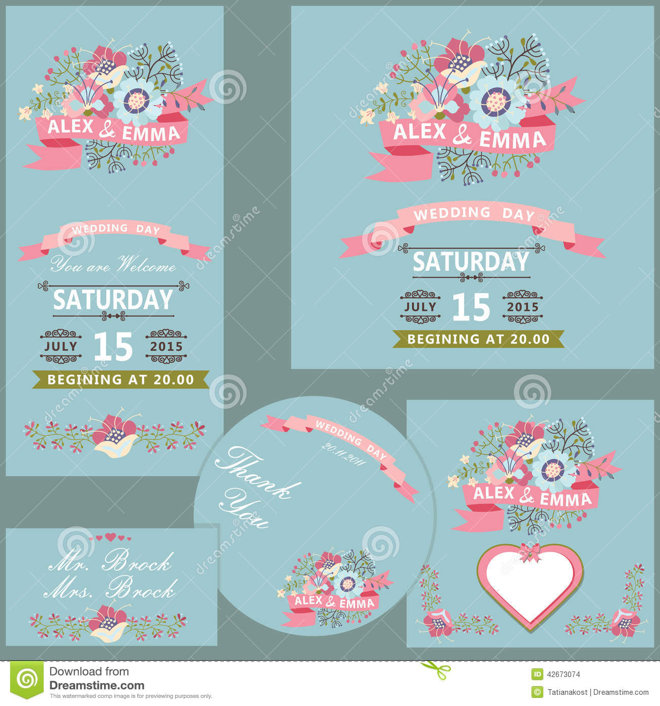 Cute Wedding Design Template Set With Flowers Stock Vector