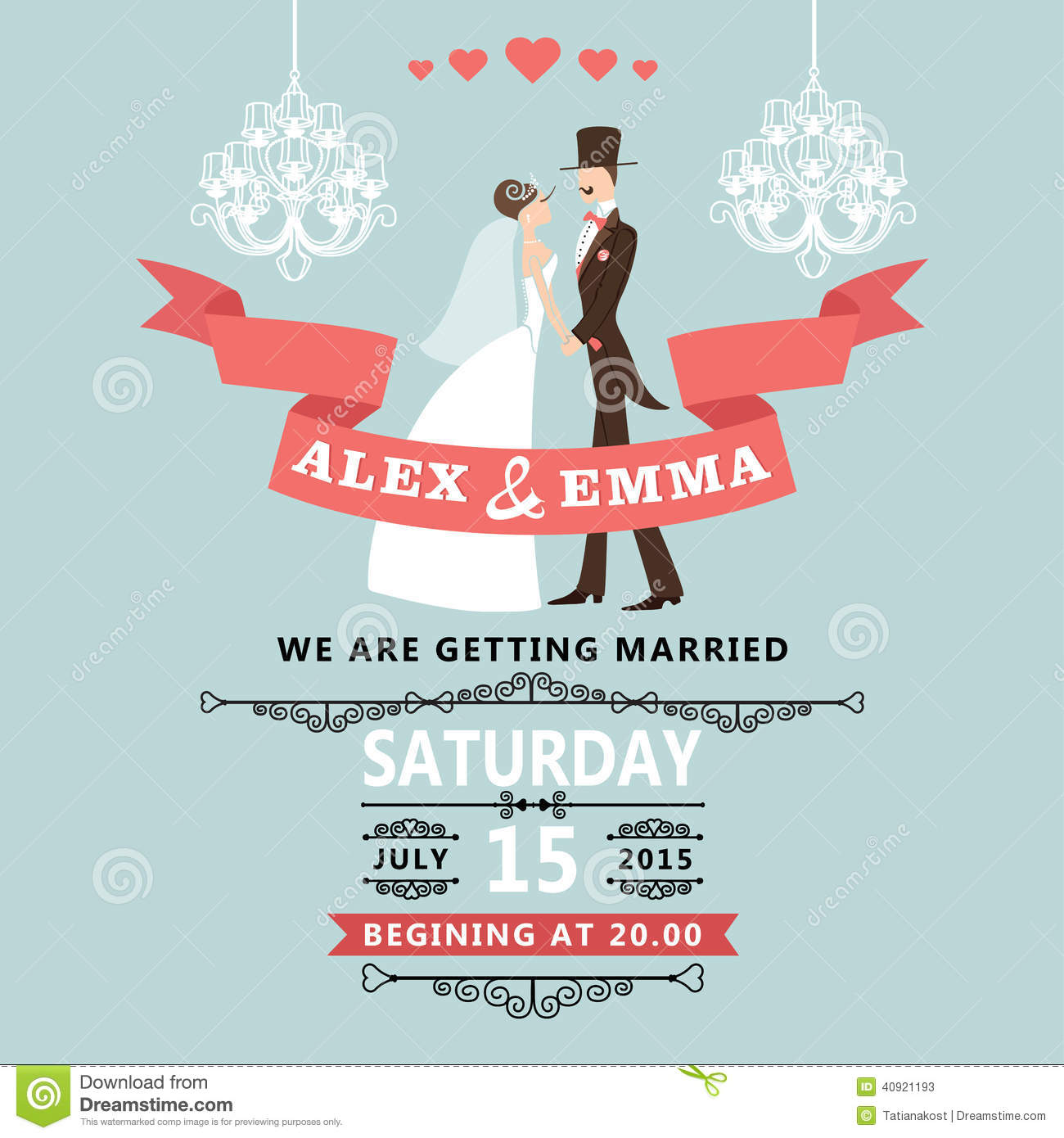 Cute Wedding Invitation With Cartoon Bride And Groom Stock