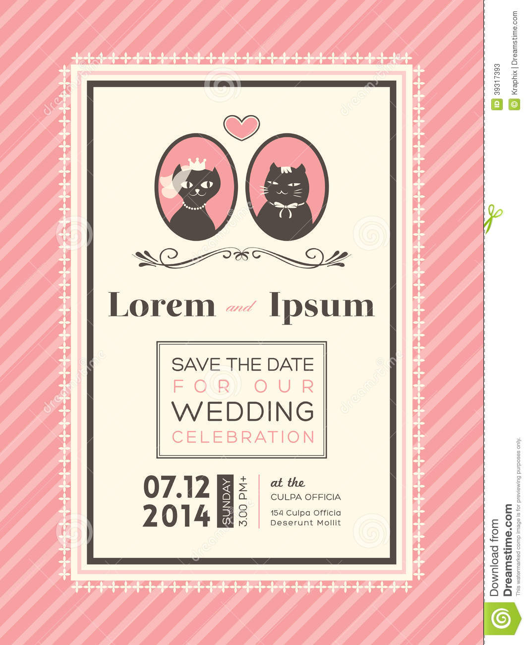 Cute Wedding Invitation Frame Template Stock Vector Illustration - Cute wedding invitation templates