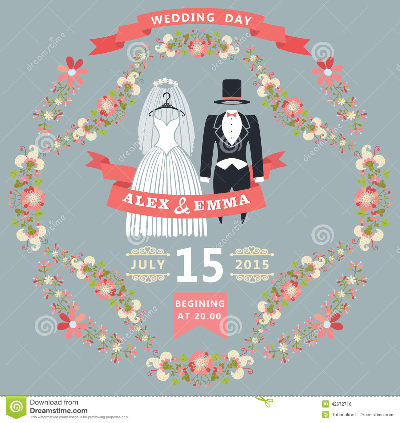 cute wedding invitation with retro wedding wear floral frame stock vector image 42672716. Black Bedroom Furniture Sets. Home Design Ideas
