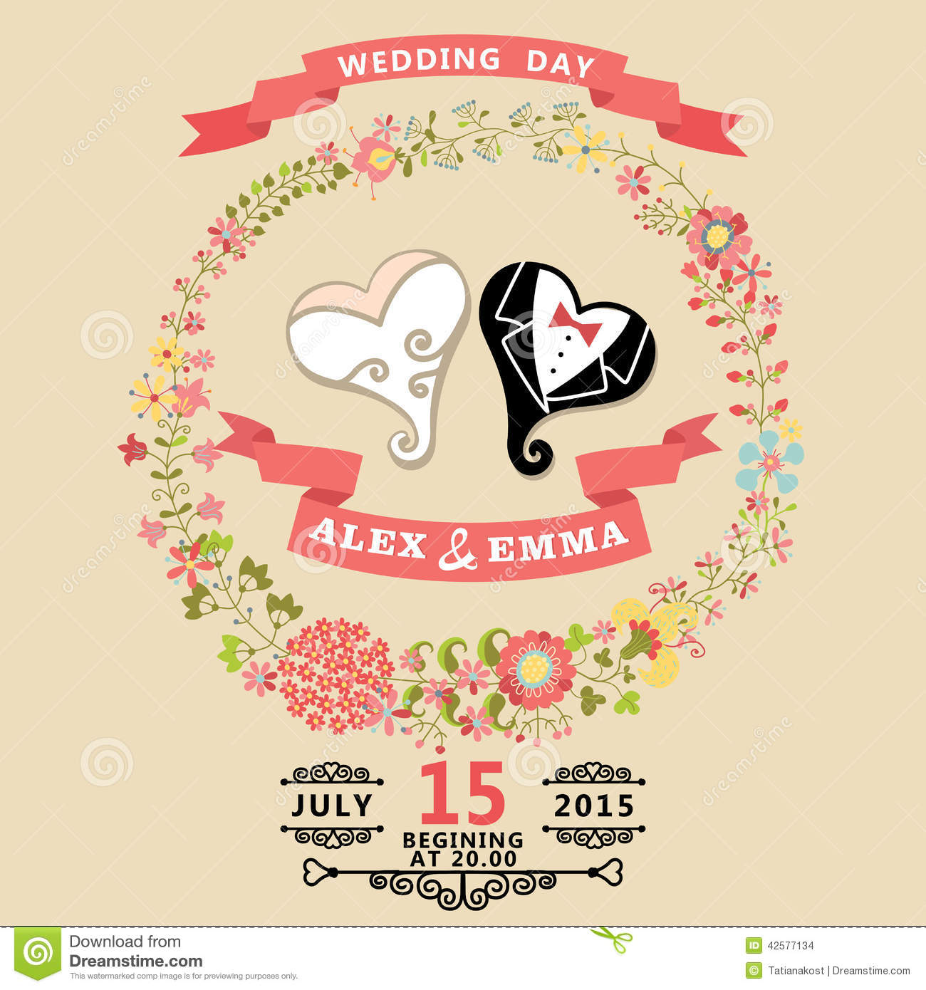cute wedding invitation with stylized heart and floral wreath stock