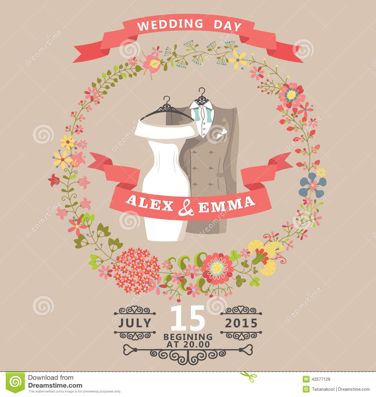 Cute Wedding Invitation With Wedding Wear And Floral