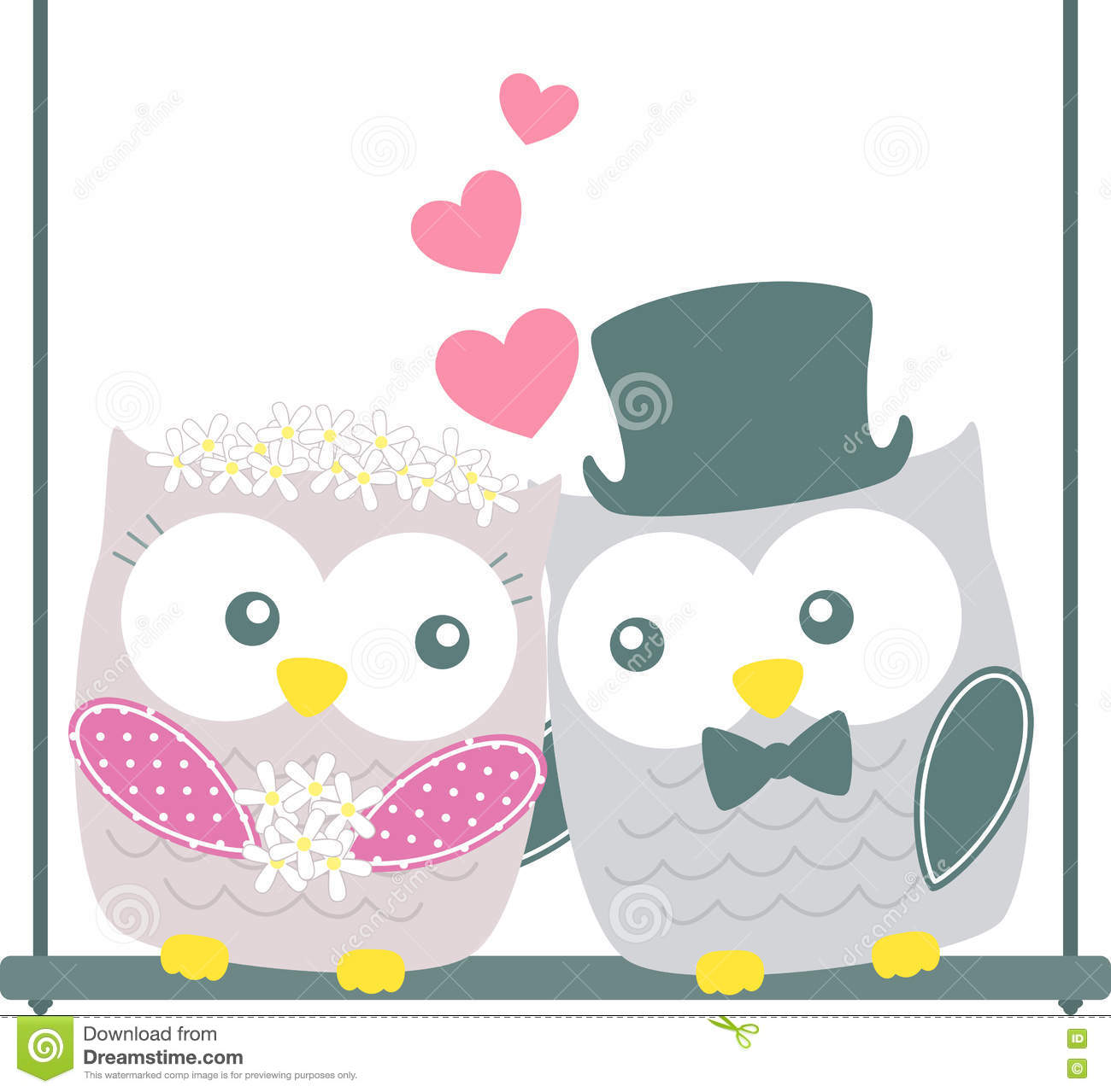Cute Wedding Owls Couple Stock Vector. Illustration Of