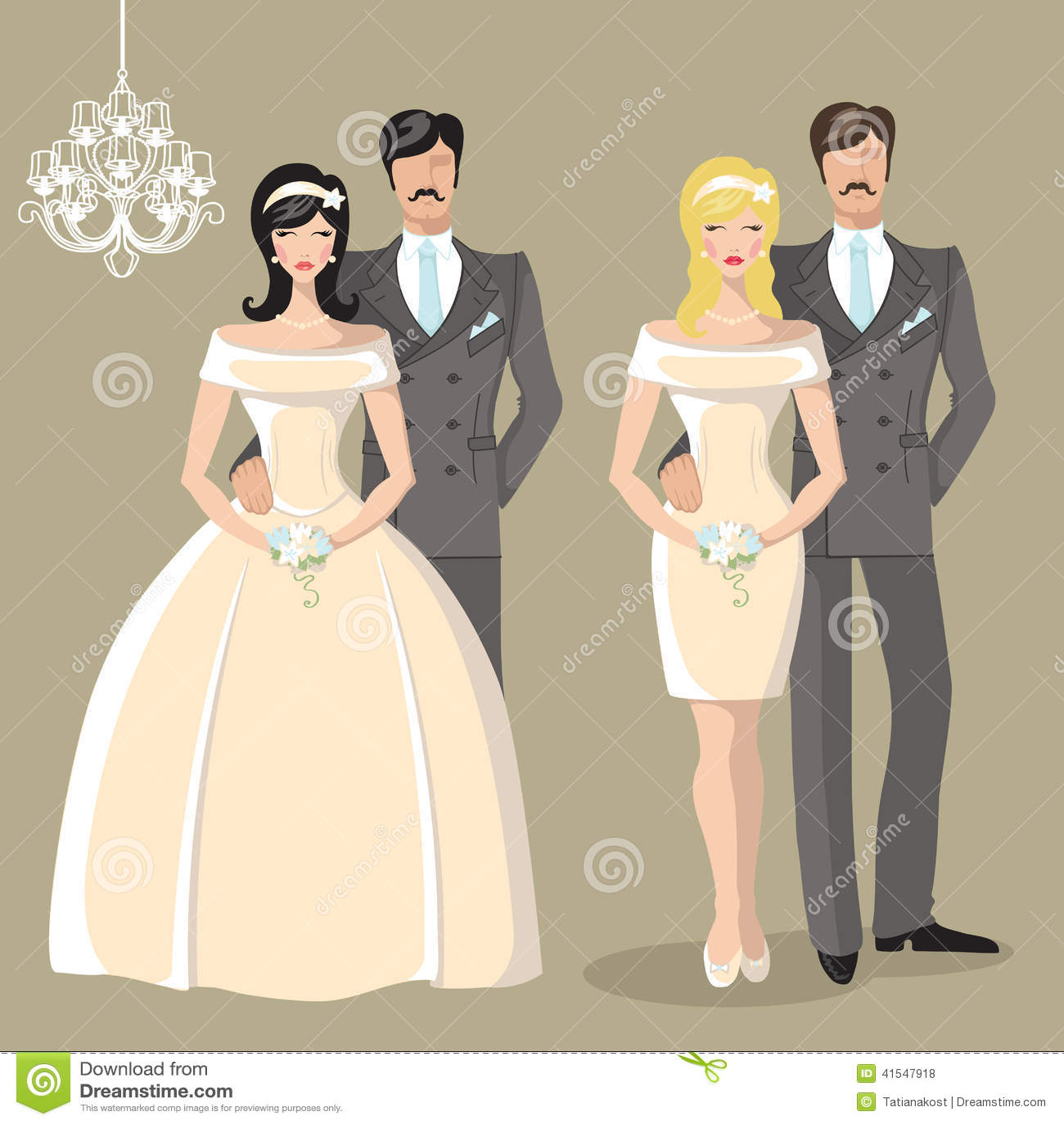 Cute Wedding Set Of Cartoon Bride And Groom Stock Vector Image 41547918