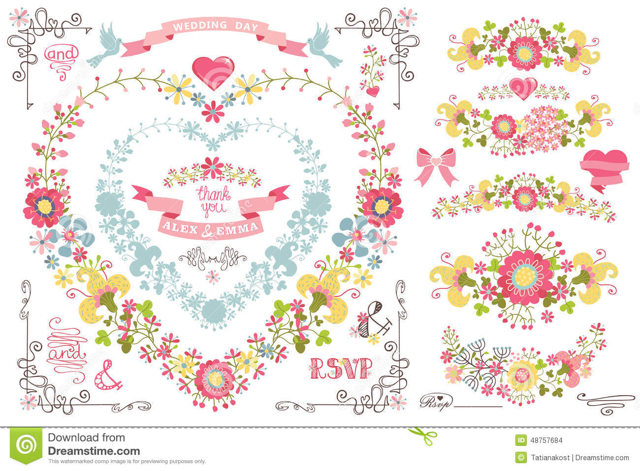 Retro wedding design template set with floral decor ribbons pigeot