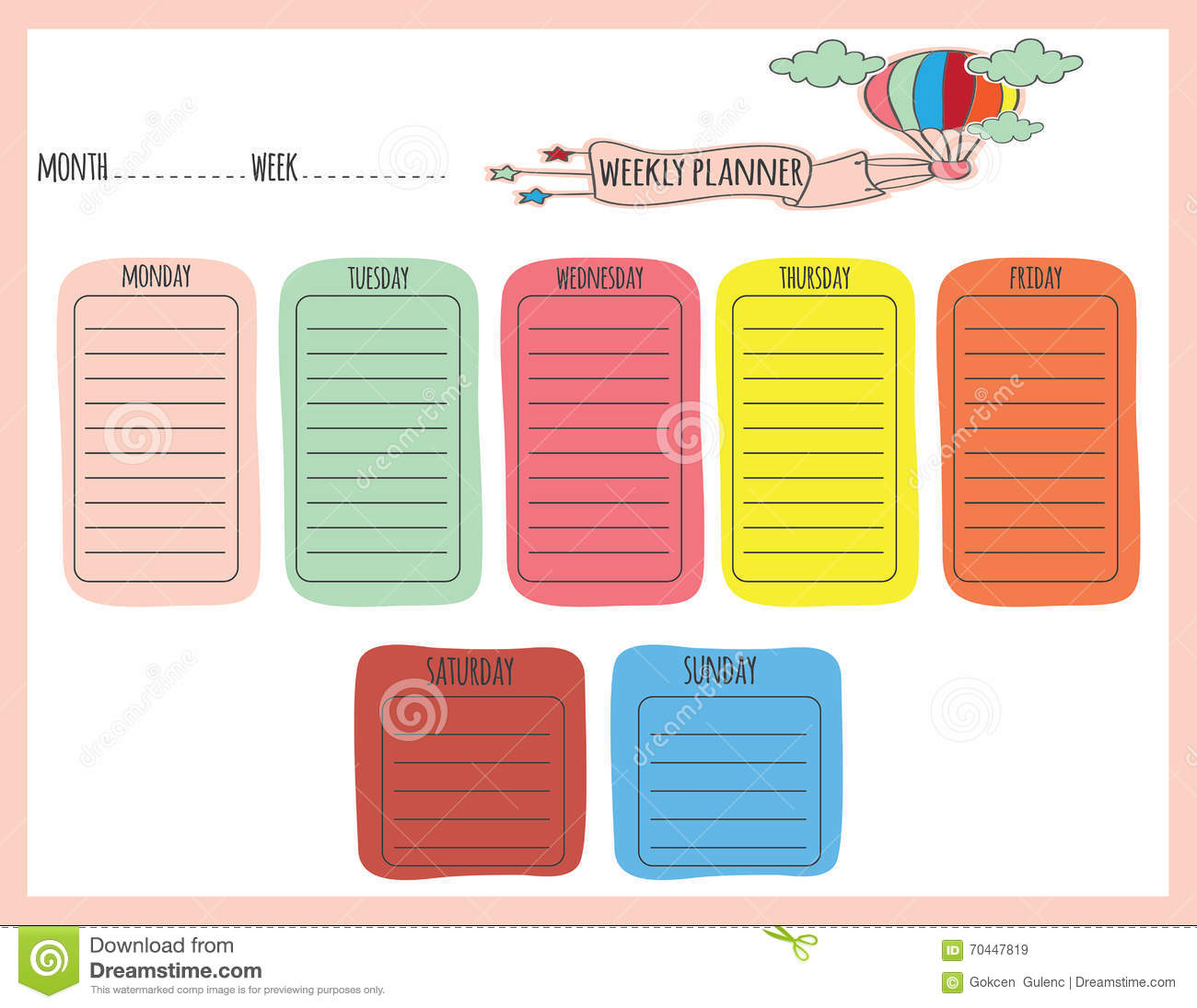 Cute Calendar Weekly Planner Template. Illustration. Organizer and ...