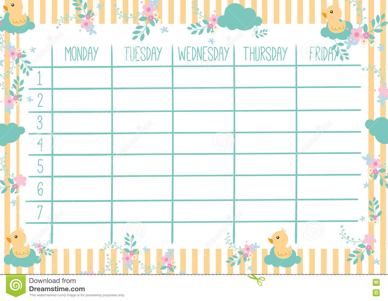 Cute Weekly Calendar Template : Cute weekly planner stock vector illustration of plan