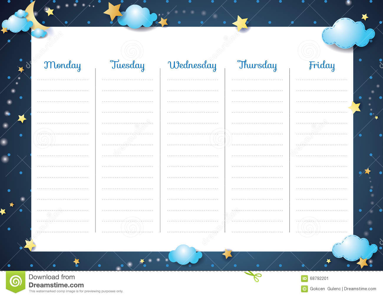 Cute Weekly Planner-Night Theme Stock Vector - Illustration of moon ...