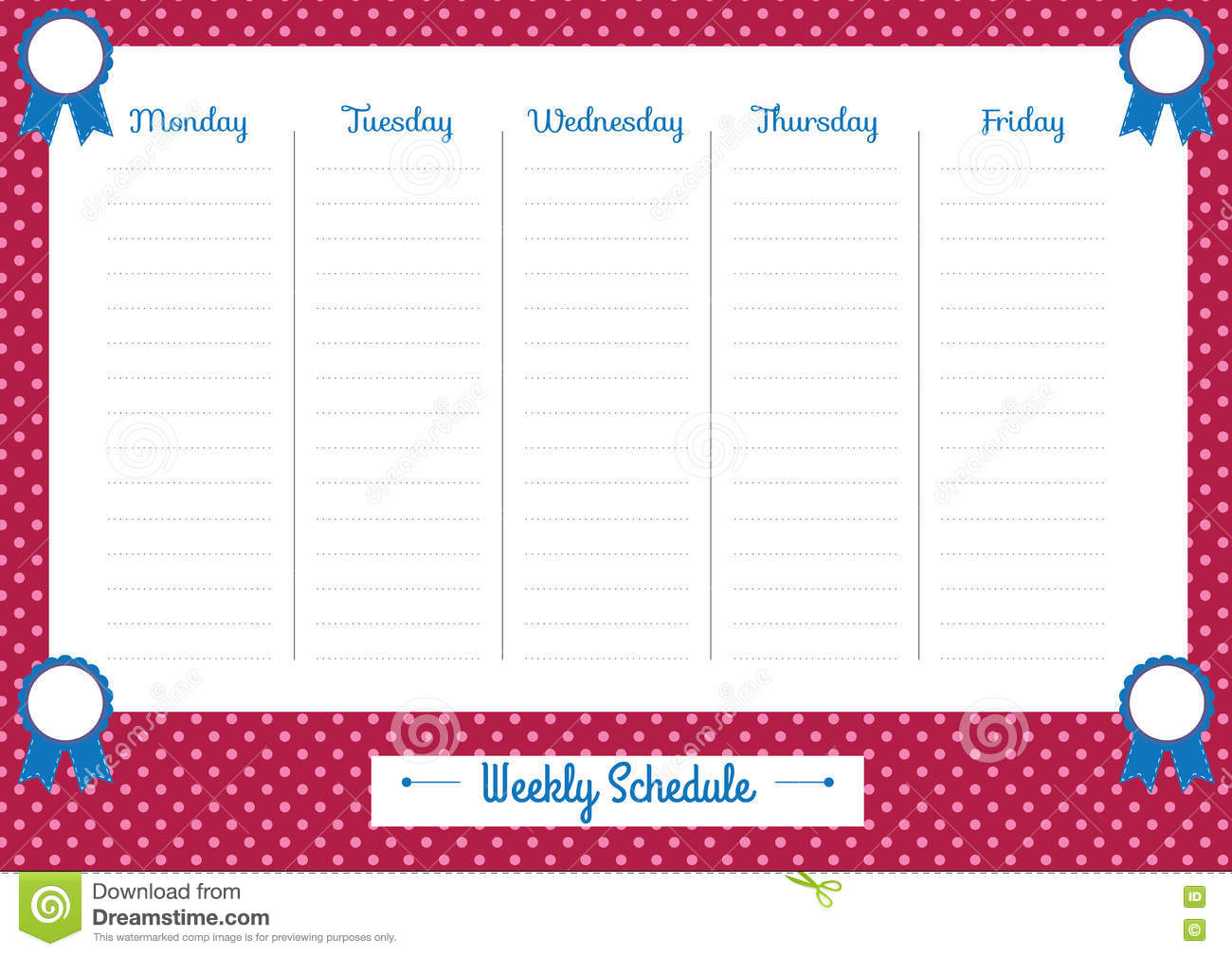 Cute Calendar Weekly Planner Template Illustration Organizer And Schedule