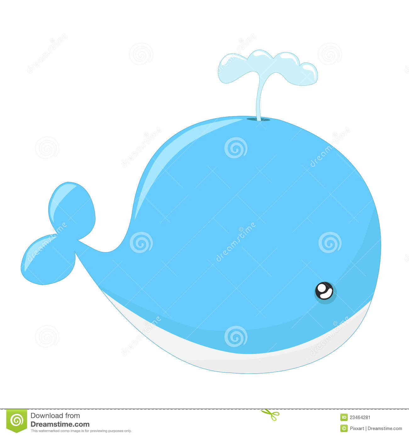Cute whale in water cartoon isolated illustration stock photography - Cute Whale Cartoon Stock Image