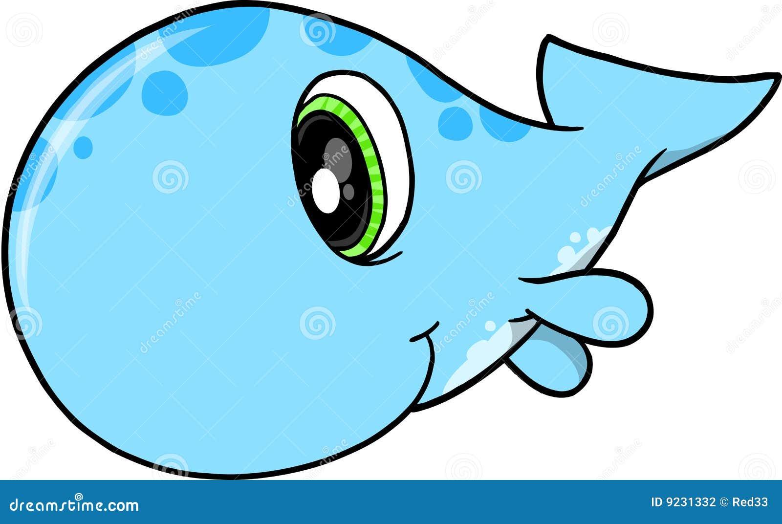 Cute Blue Whale Clip Art Blue cute whale vector