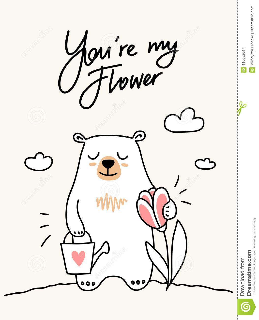 Cute White Bear Growthes His Pink Flower On The Meadow Cartoon Flat