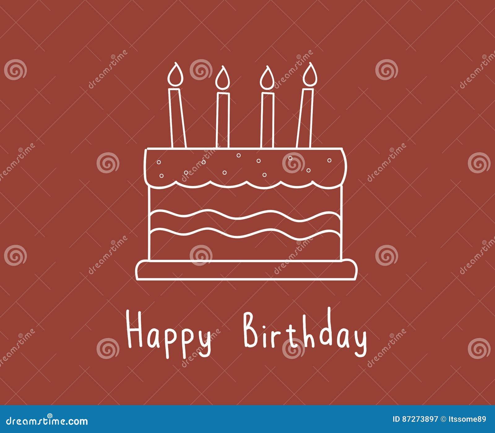 Cute White Birthday Cake Stock Illustration Illustration Of Bless