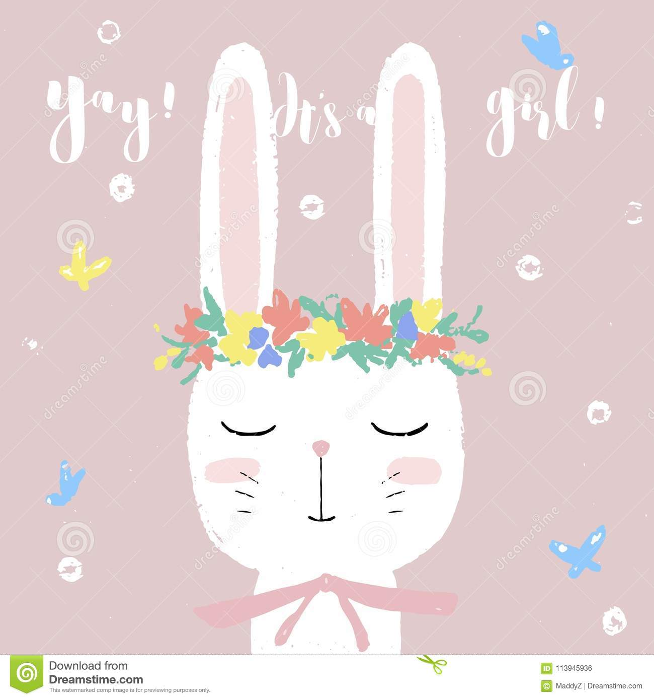 Cute white bunny on baby shower card invitation design template download cute white bunny on baby shower card invitation design template stock vector illustration filmwisefo