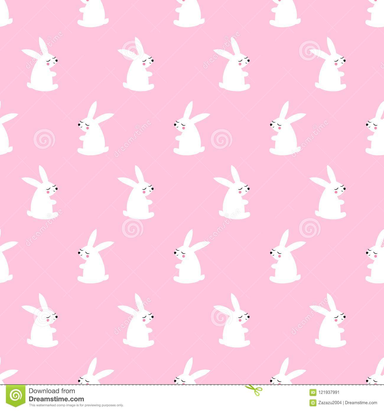 Cute White Bunny Seamless Pattern On Pink Background Stock Vector Illustration Of Cute Seamless 121937991