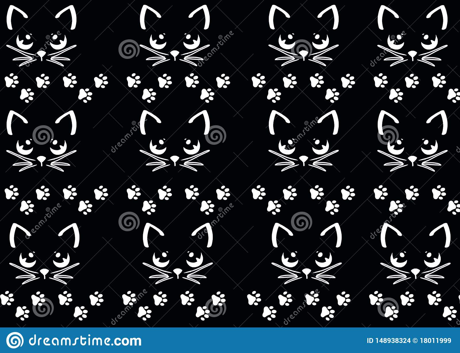 Pattern Cute Cat Paws Wallpaper Stock Illustration Illustration Of Flowers Decorate 148938324