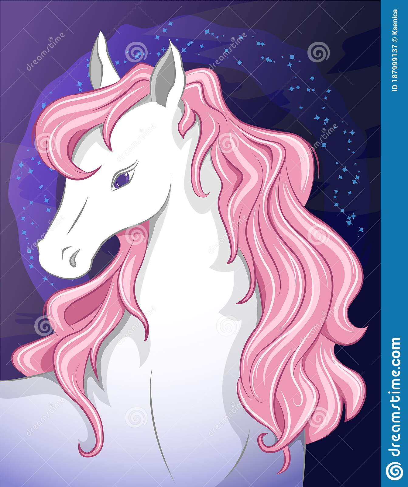 Cute White Horse With A Beautiful Pink Mane Stock Vector Illustration Of Night Head 187999137