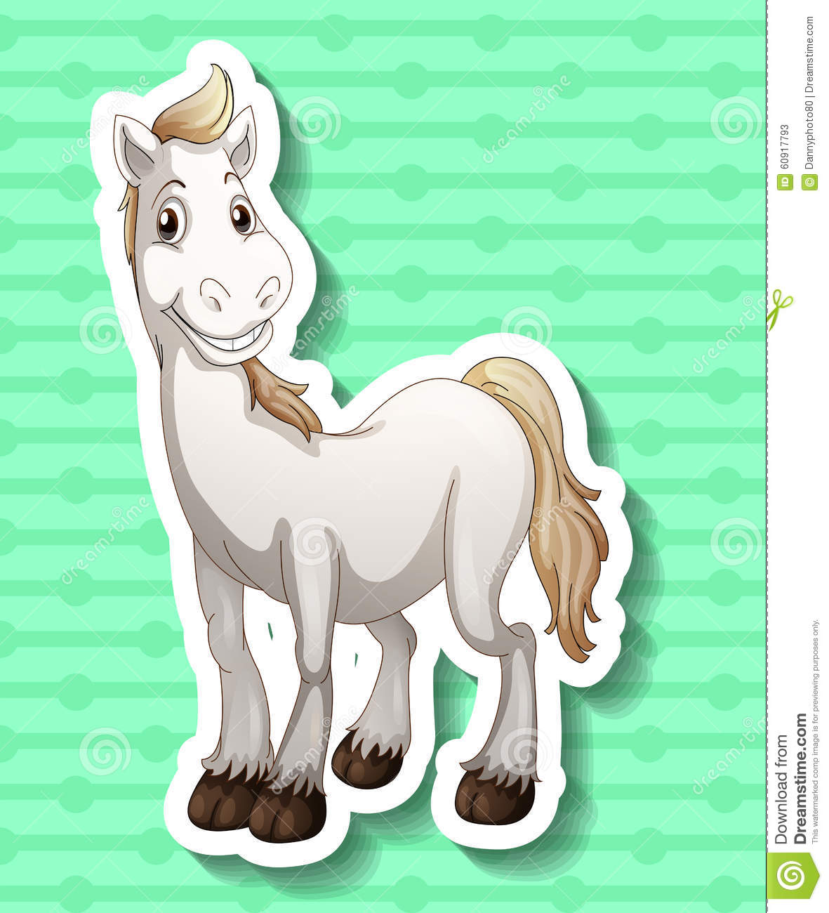 Cute White Horse Smiling Stock Vector Illustration Of Adorable 60917793