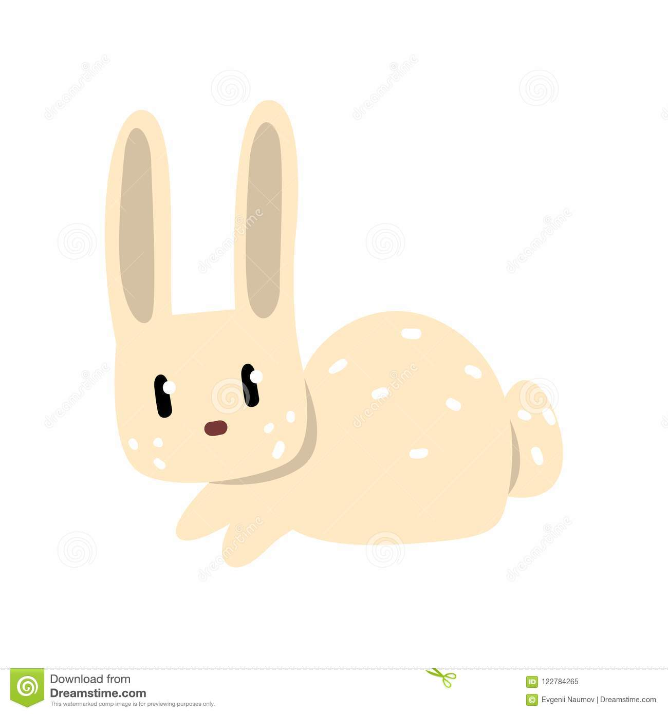 Cute white little rabbit cartoon character vector Illustration on a white background