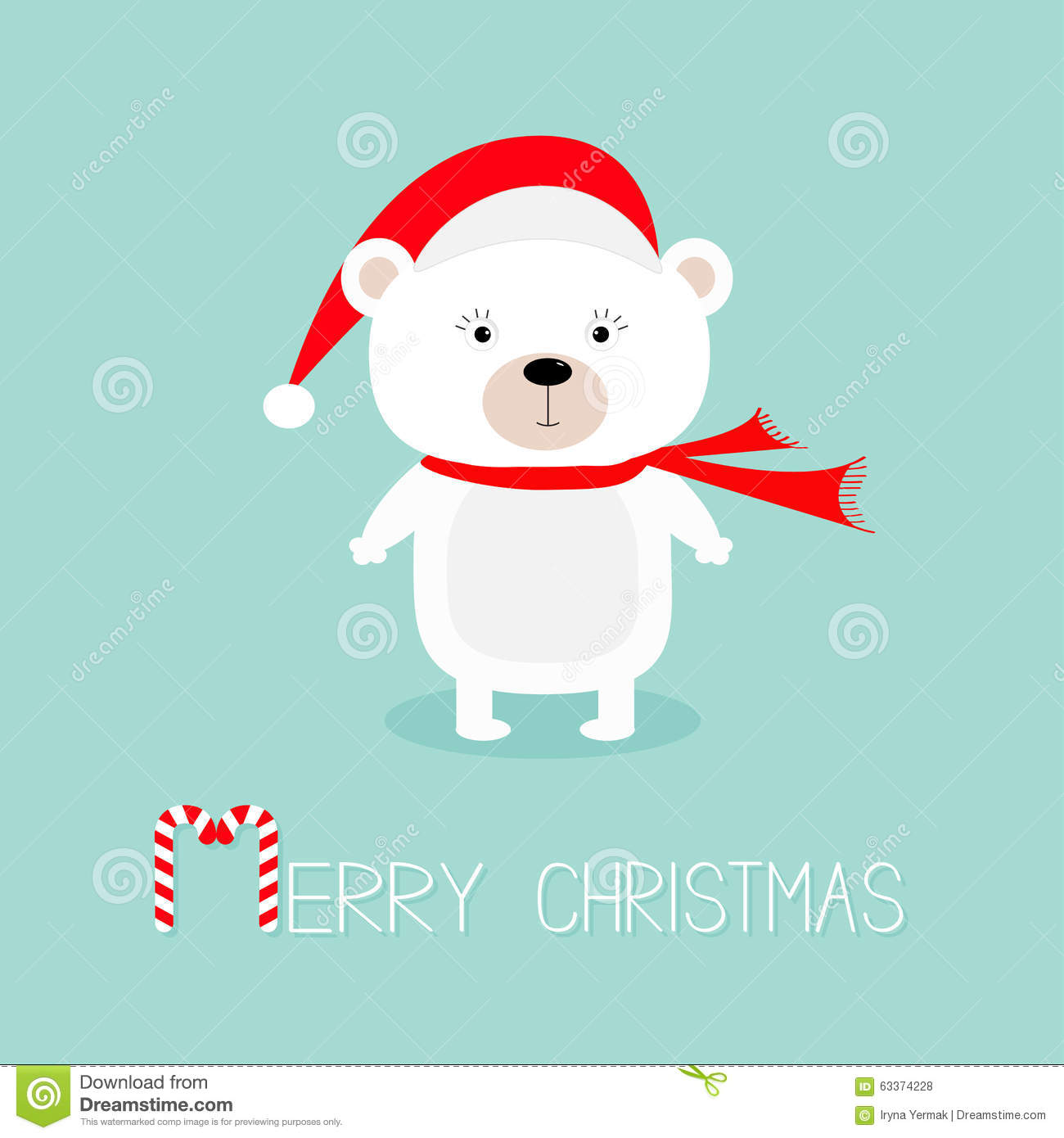 cute white polar baby bear in santa claus hat and scarf candy cane merry