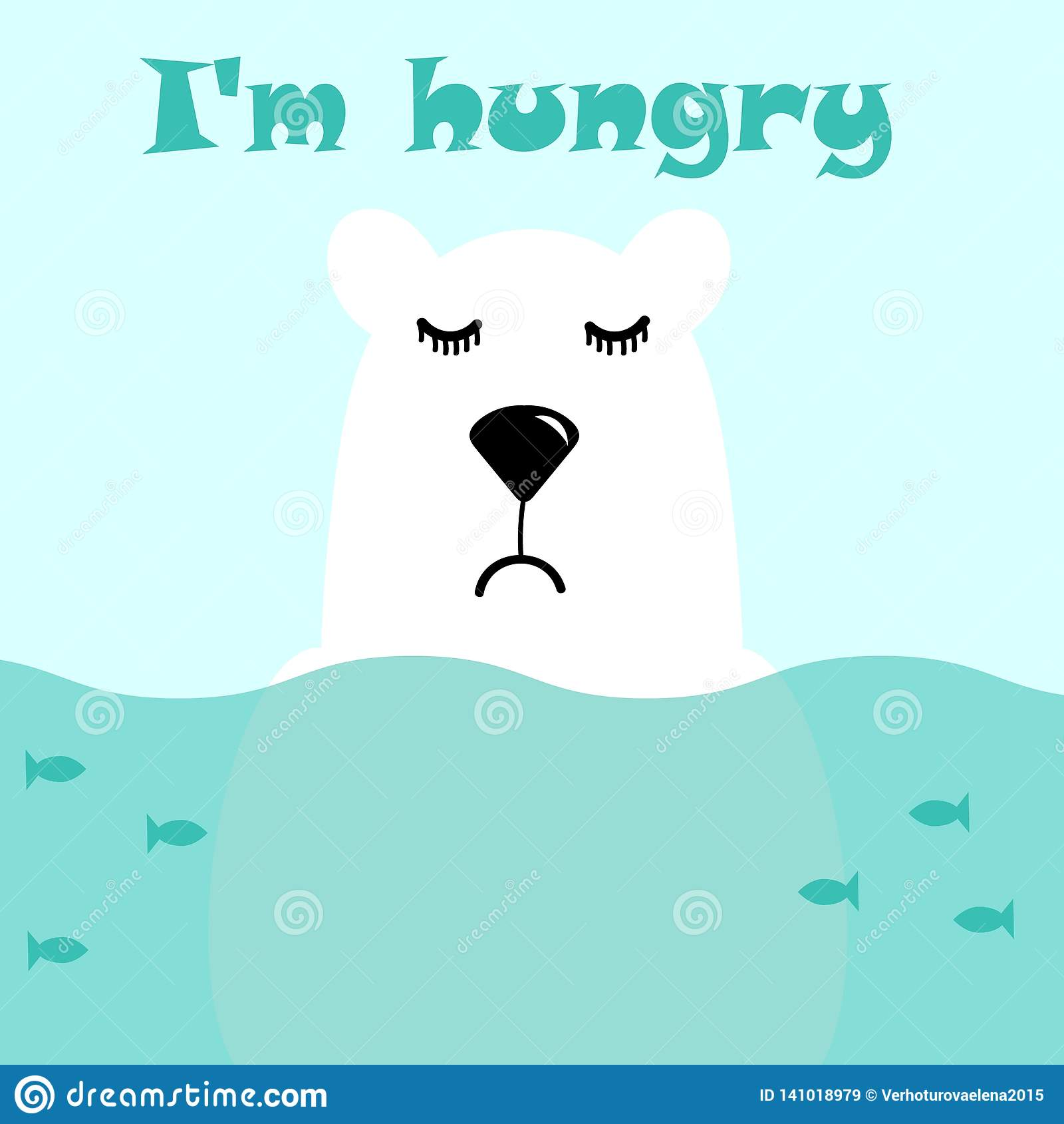 Cute white polar bear is standing in the water, fish are swimming around him, he is sad and hungry. Vector illustration and