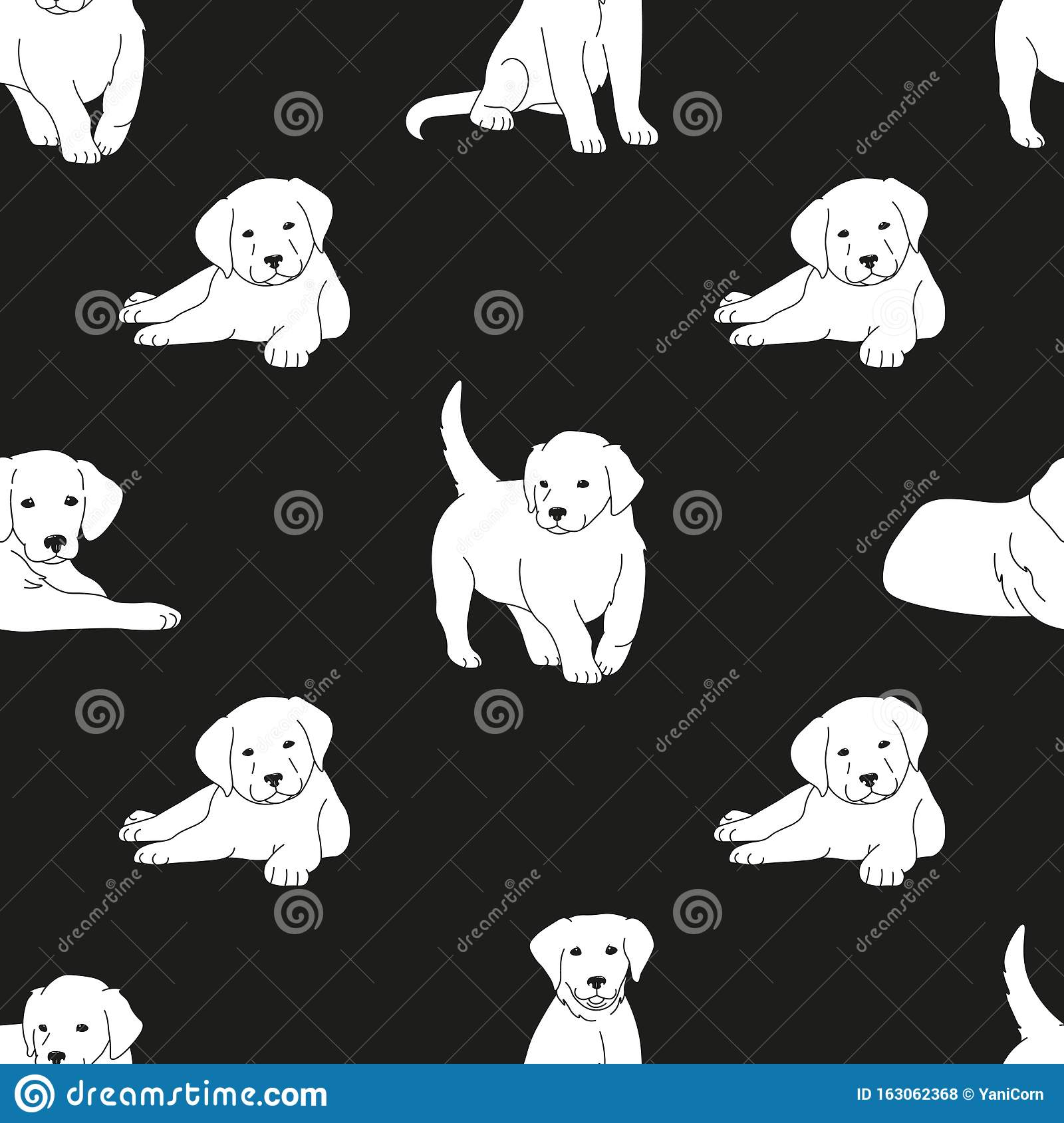 Cute White Puppies Black Thin Lines Silhouettes On Black Background Seamless Pattern Cartoon Drawing Adorable Pets Editable Stock Vector Illustration Of Textile Graphic 163062368