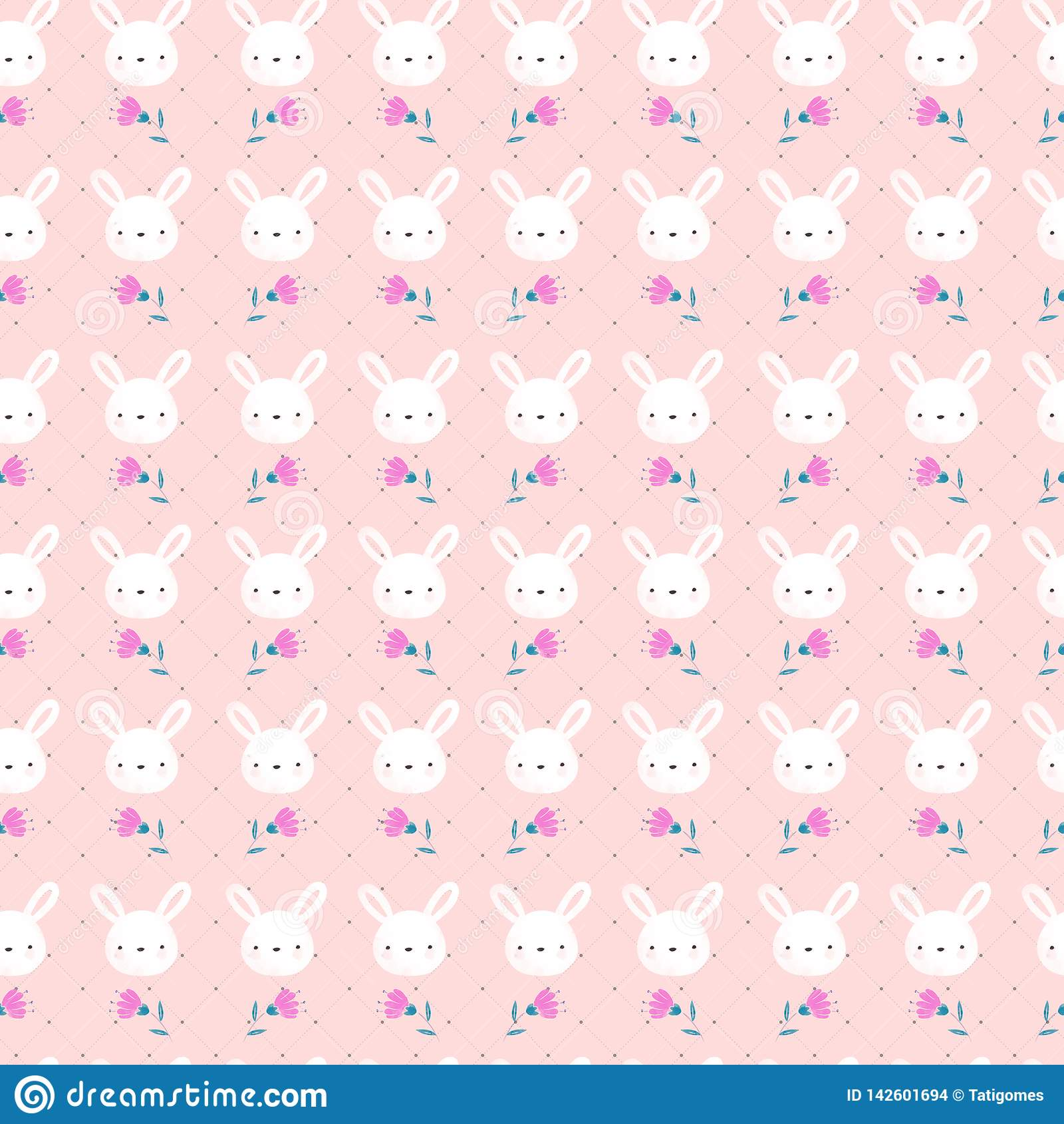 Cute White Rabbit Seamless Pattern Stock Illustration