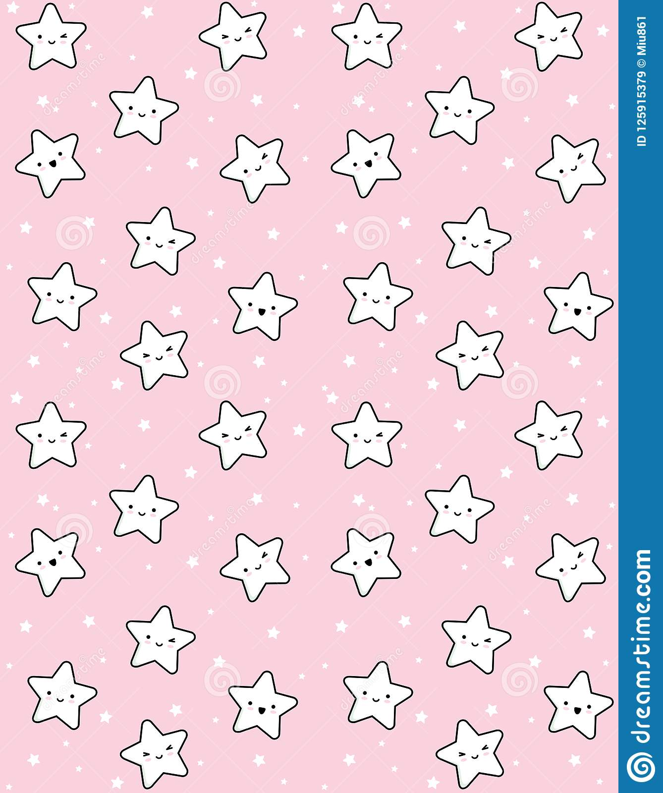 Cute White Stars With Black Outline Vector Pattern Pastel Pink