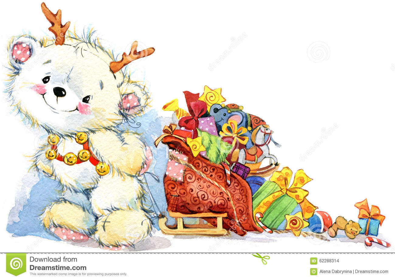 cute white teddy bear christmas and new year background watercolor illustration