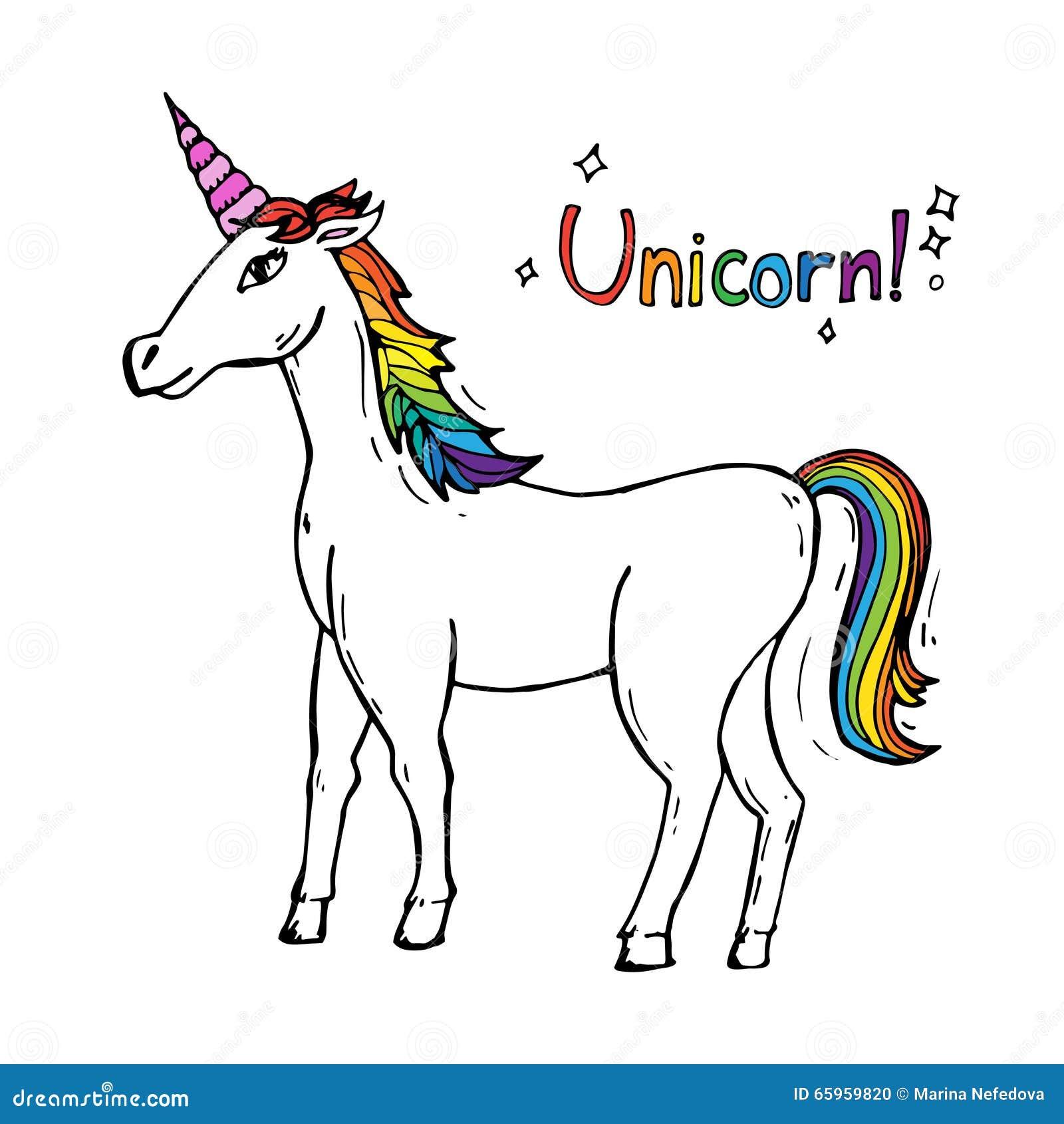 Cute White Unicorn In Cartoon Style Stock Illustration