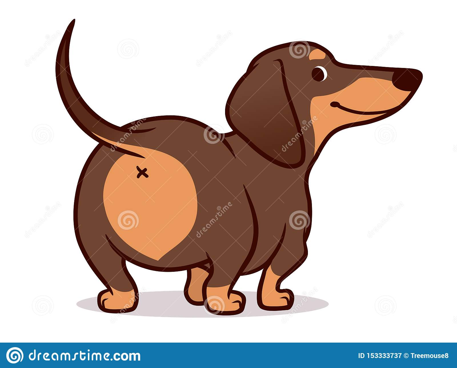 Cute Wiener Sausage Dog Cartoon Illustration Isolated On