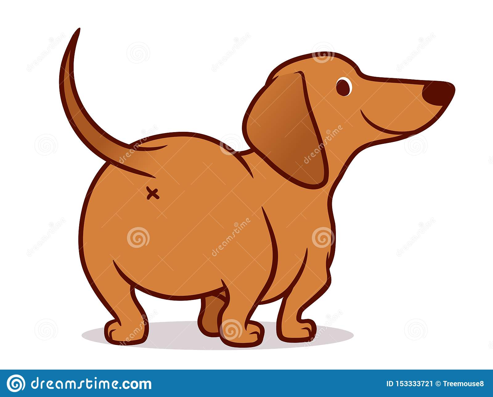 Cute Wiener Sausage Dog Cartoon Illustration Isolated On White Simple Drawing Of Friendly Tan Dachshund Puppy Rear View Stock Illustration Illustration Of Domestic Smooth 153333721