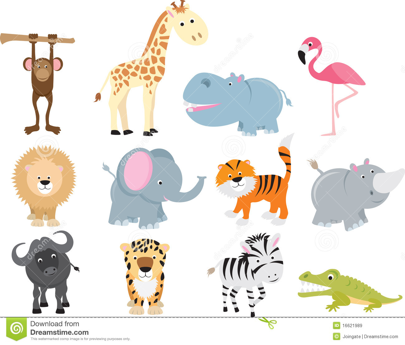 Cute Wild Safari Animal Cartoon Set Stock Vector ...