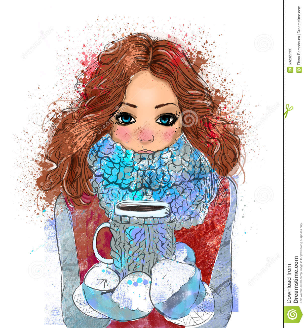 cute winter girl with coffee cup stock illustration illustration