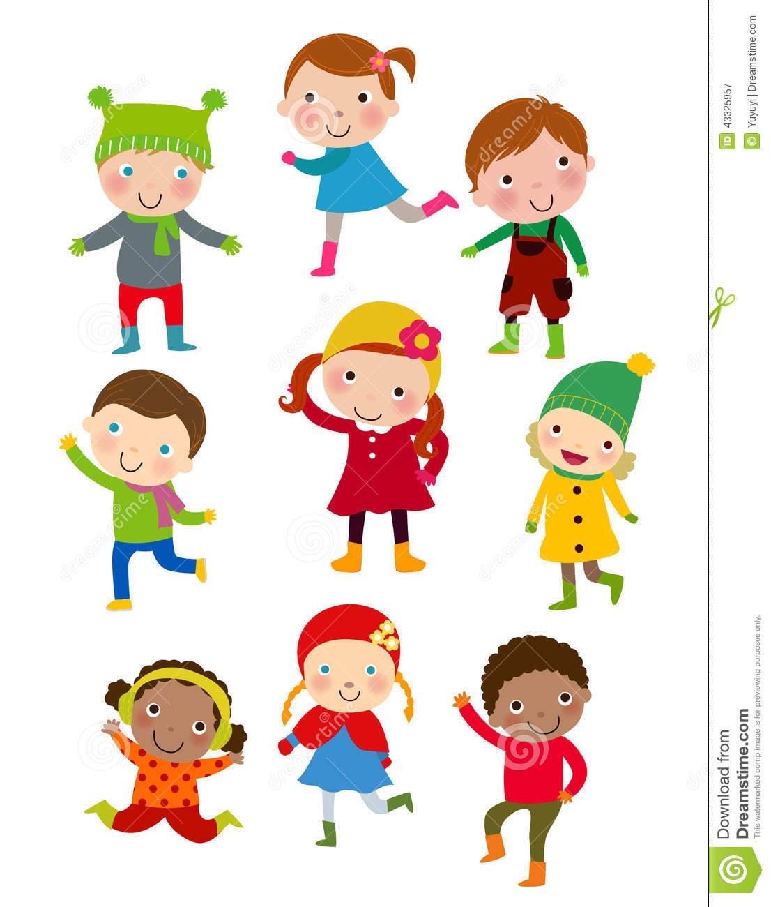 cute winter kids group stock vector   image 43325957