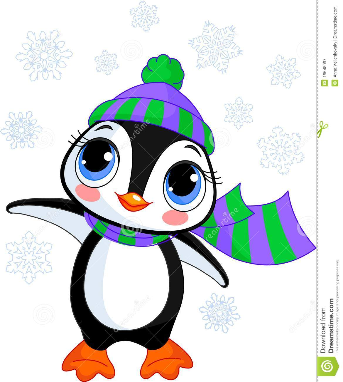c73be31bc19784 Cute Winter Penguin With Hat And Scarf Stock Vector - Illustration ...