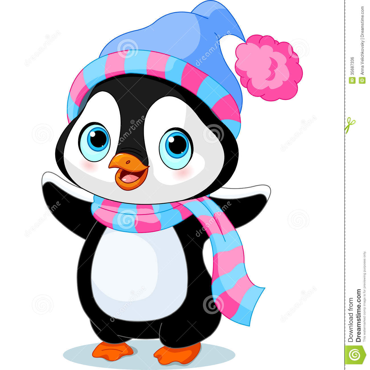 Winter Hat Scarf Clipart Cute winter penguin with hat