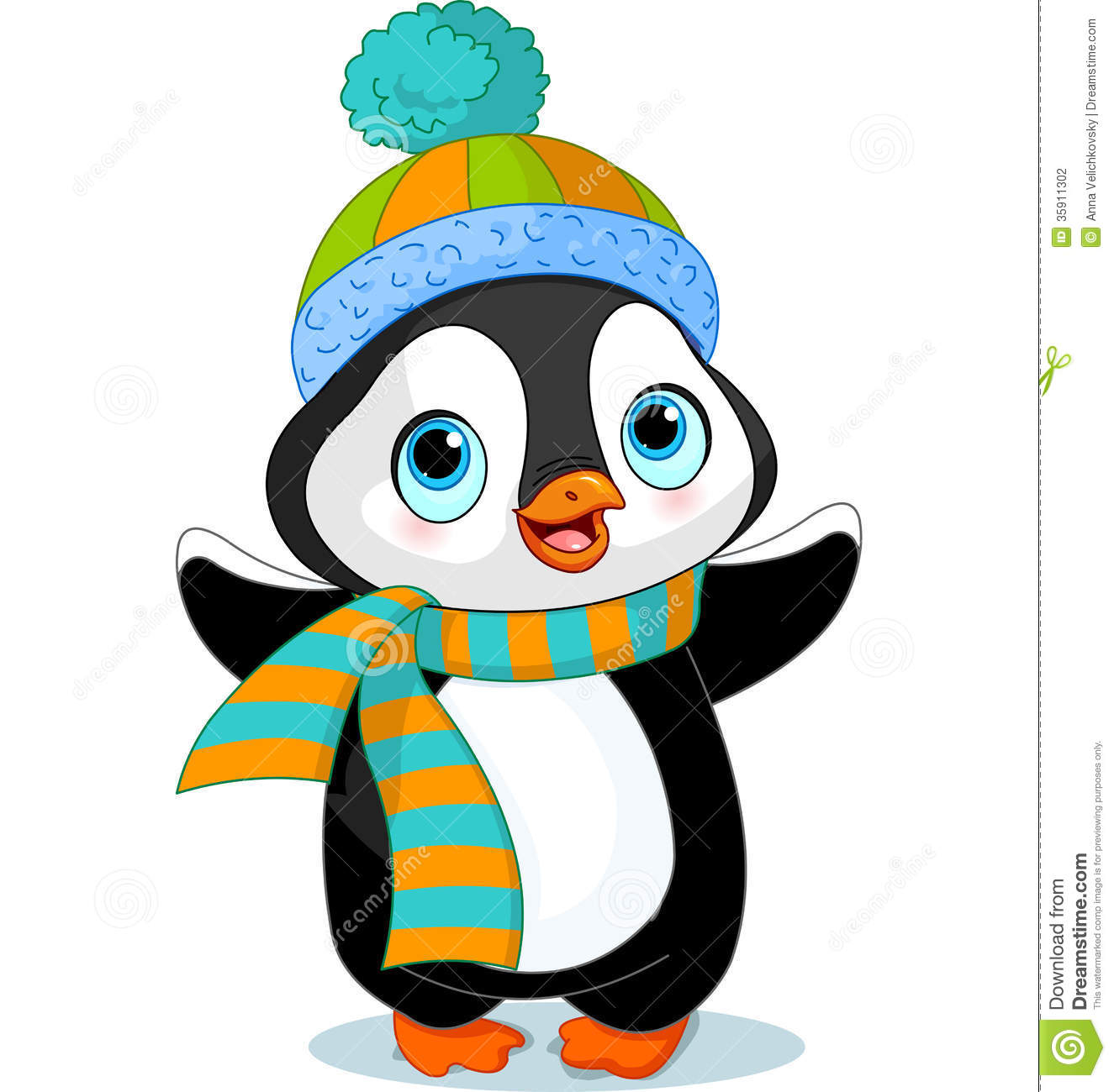 Cute winter penguin stock vector. Illustration of artworks ...