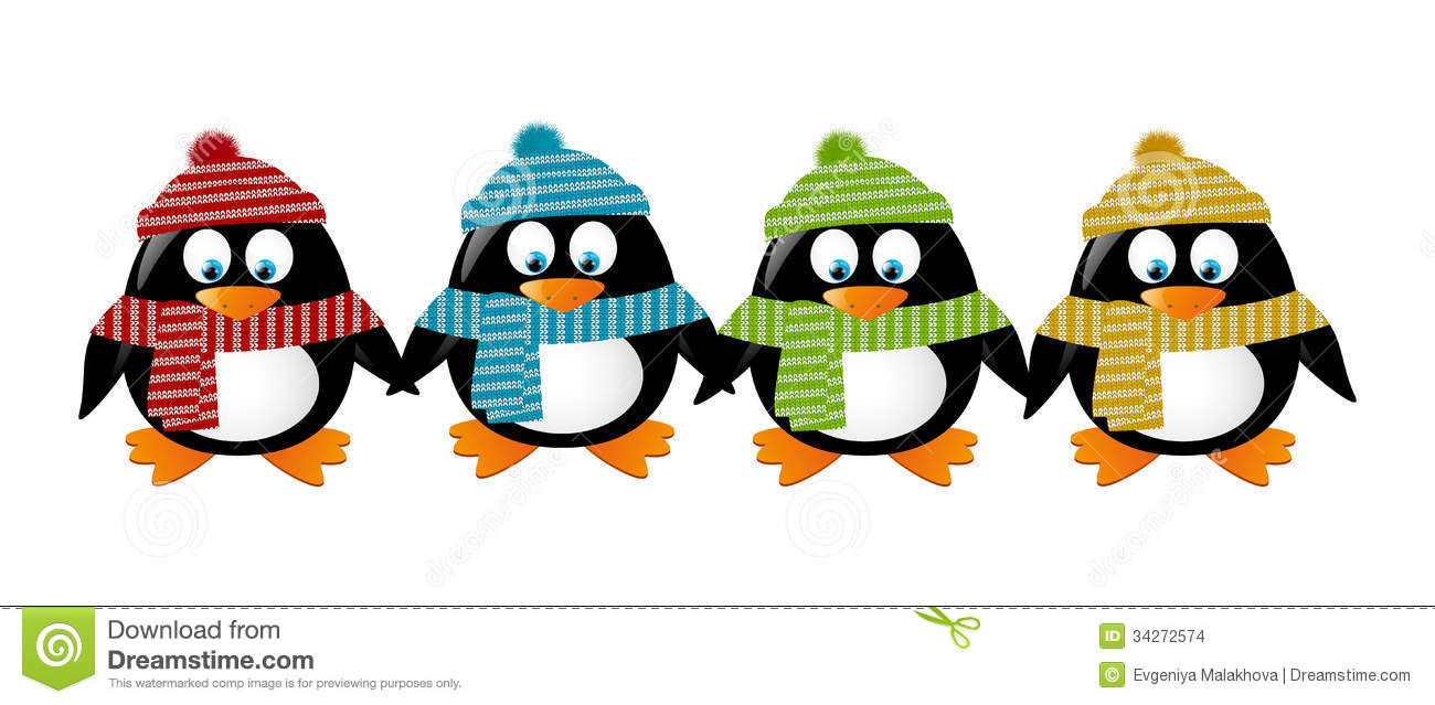 Cute Winter Penguins Stock Images Image 34272574